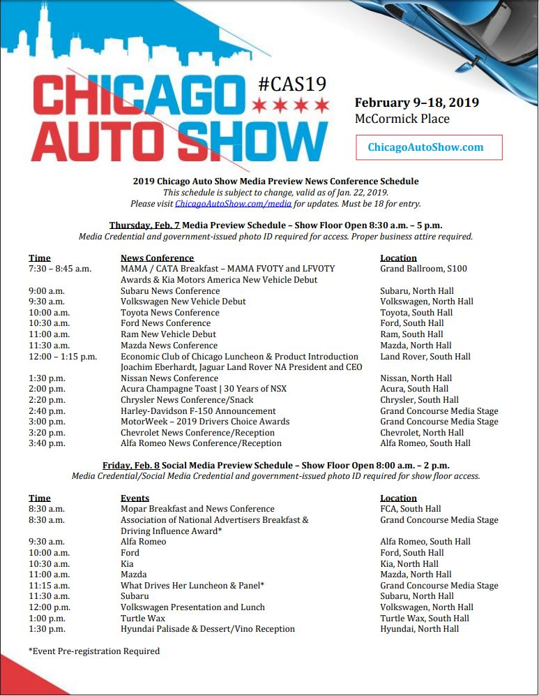 2019 Chicago Auto Show Press Conference Schedule