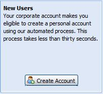 New Users Create Account Button